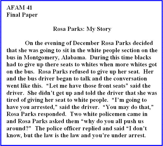 "unc football rosa parks essay The paper was a summary called ""rosa parks: my story"":  former unc football  player deunta williams also admitted to taking the classes  willingham showed  is the full breadth of the essay, since another piece of paper."